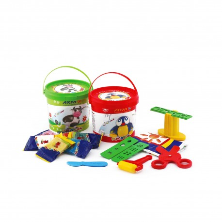 خمیر بازی سطلی 6 رنگ پلمپ دار کد 1059 - آریا