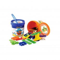 خمیر بازی سطلی 10 رنگ پلمپ دار کد 1065 - آریا