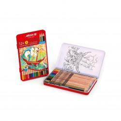 مداد رنگی 12 + 3 رنگ فلزی کد 3021 - آریا